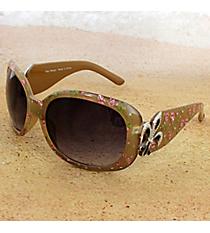 One Pair Silvertone Fleur de Lis Accented Caramel Floral Print Sunglasses #FDL4010-R