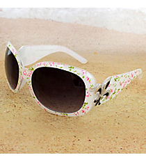 One Pair Silvertone Fleur de Lis Accented Ivory Floral Print Sunglasses #FDL4010-R