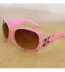 One Pair Silvertone Fleur de Lis Accented Pink Floral Print Sunglasses #FDL4010-R