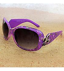 One Pair Silvertone Fleur de Lis Accented Purple Floral Print Sunglasses #FDL4010-R
