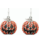 Orange Crystal and Enamel Jack-O-Lantern Earrings #48019-JCKOLNTRN