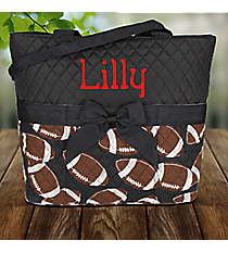Football Quilted Diaper Bag with Black Trim #FTQ2121-BLACK