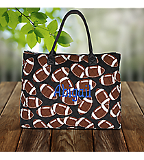 Football Quilted Large Shoulder Tote #FTQ3907-BLACK