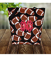 Football Shoulder Tote #FTQ493-BLACK