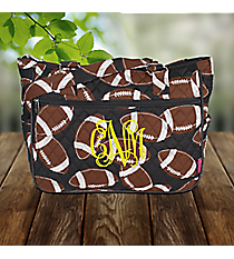 Football Quilted Shoulder Tote #FTQ594-BLACK