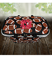 Football Collapsible Insulated Market Basket with Lid #FTQ658-BLACK