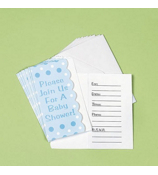 SALE! Pack of 8 Blue Polka Dot Invitations #7E-42/1277