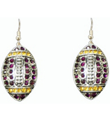Purple and Gold Crystal Football Earrings #48168-PU/GD