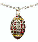 "18"" Red and Gold Crystal Football Necklace #48180-RD/GD"