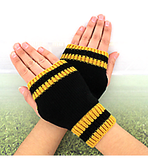One Pair of Black and Gold Knit Fingerless Gloves #GL0003-BKGD