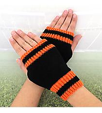 One Pair of Black and Orange Knit Fingerless Gloves #GL0003-BKOR