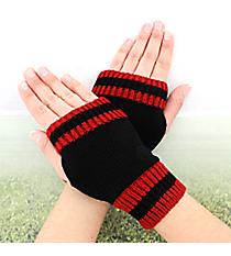 One Pair of Black and Burgundy Knit Fingerless Gloves #GL0003-BKWI