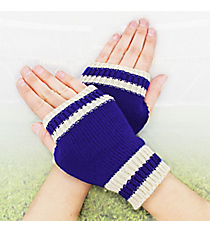One Pair of Royal Blue and Ivory Knit Fingerless Gloves #GL0003-BLIV