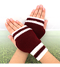 One Pair of Maroon and White Knit Fingerless Gloves #GL0003-MRWT
