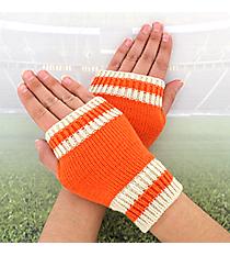 One Pair of Orange and Ivory Knit Fingerless Gloves #GL0003-ORIV
