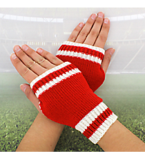 One Pair of Red and White Knit Fingerless Gloves #GL0003-RDWT