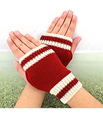 One Pair of Burgundy and Ivory Knit Fingerless Gloves #GL0003-WIIV