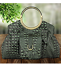 Deep Green Croco Leather Handbag #1441-GOS4373-GREEN
