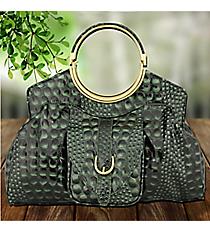 Deep Green Croco Leather Handbag #1441-GOS4373-GREEN