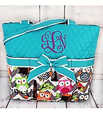 Chevron Owl Party Quilted Diaper Bag with Aqua Trim #GQL2121-AQUA