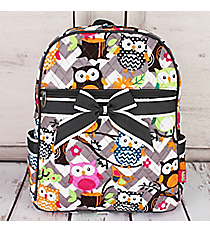 Gray Chevron Owl Party Quilted Large Backpack with Gray Trim #GQL2828-GRAY