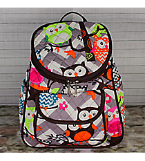 Gray Chevron Owl Party Quilted Petite Backpack with Brown Trim #GQL286-BROWN