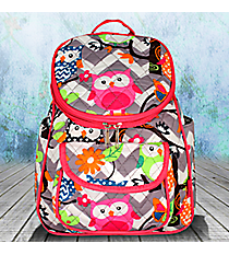 Gray Chevron Owl Party Quilted Petite Backpack with Hot Pink Trim #GQL286-H/PINK