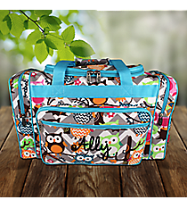 "20"" Gray Chevron Owl Party Duffle Bag with Aqua Trim #GQL420-AQUA"