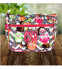 Gray Chevron Owl Party with Hot Pink Trim Quilted Shoulder Tote #GQL594-HPINK