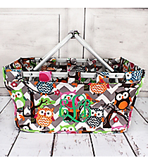 Gray Chevron Owl Party Collapsible Market Basket #GQL696-GRAY