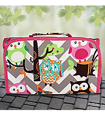 Gray Chevron Owl Party Roll Up Cosmetic Bag with Hot Pink Trim #GQL729-HPINK