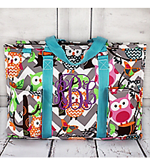 Gray Chevron Owl Party Utility Tote with Aqua Trim #GQL731-AQUA