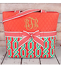 Coral and Mint Trellis Twist Quilted Diaper Bag with Coral Trim #GUA2121-CORAL