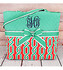 Coral and Mint Trellis Twist Quilted Diaper Bag with Mint Trim #GUA2121-MINT