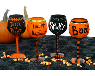 SALE! One Halloween Sayings Hand Painted Wine Glass #90036-ASST