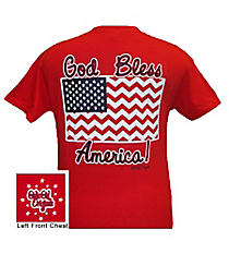"Chevron Flag ""God Bless America!"" Red T-Shirt *Choose Your Size"