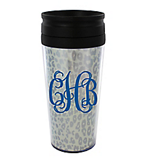 Metallic Silver Leopard 14 oz. Travel Tumbler with Black Lid #WLCM338PP-CL-U