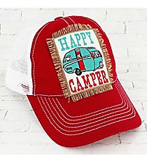 Red 'Happy Camper' Trucker Cap #93272HT-CAMPER-RD