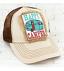 Tan 'Happy Camper' Trucker Cap #93272HT-CAMPER-TAN