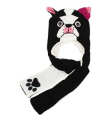 Tween's Knitted Bulldog Pocket Scarf Beanie #B71BUL01-BLK