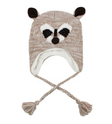 Tween's Knitted Raccoon Beanie #B01RAC01-BRN