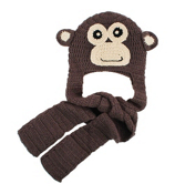 Tween's Knitted Monkey Pocket Scarf Beanie #B71MON01-BRN