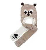 Tween's Knitted Raccoon Pocket Scarf Beanie #B71RAC01-BRN