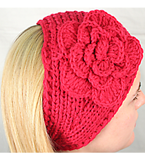Fuchsia Knit Headwrap with Flower Accent #HB1713-FUCHSIA