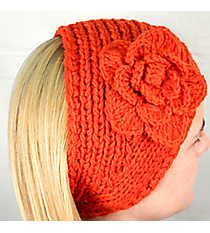 Orange Knit Headwrap with Flower Accent #HB1713-ORANGE