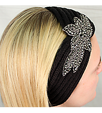 Black Knit Headwrap with Beaded Flower #HB1973-BLACK