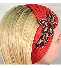 Coral Knit Headwrap with Beaded Flower #HB1973-CORAL