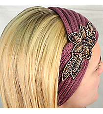Lavender Knit Headwrap with Beaded Flower #HB1973-LAVENDER