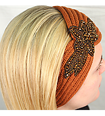 Rust Knit Headwrap with Beaded Flower #HB1973-RUST