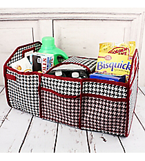 Houndstooth and Burgundy Utility Storage Tote with Insulated Bag #HE516-BURGUNDY